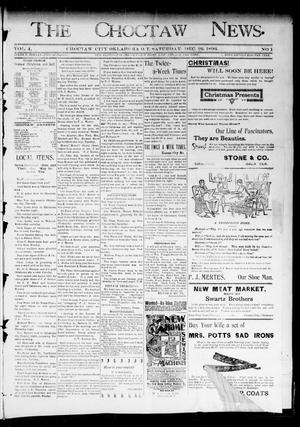 Primary view of object titled 'The Choctaw News. (Choctaw City, Okla. Terr.), Vol. 4, No. 1, Ed. 1 Saturday, December 26, 1896'.