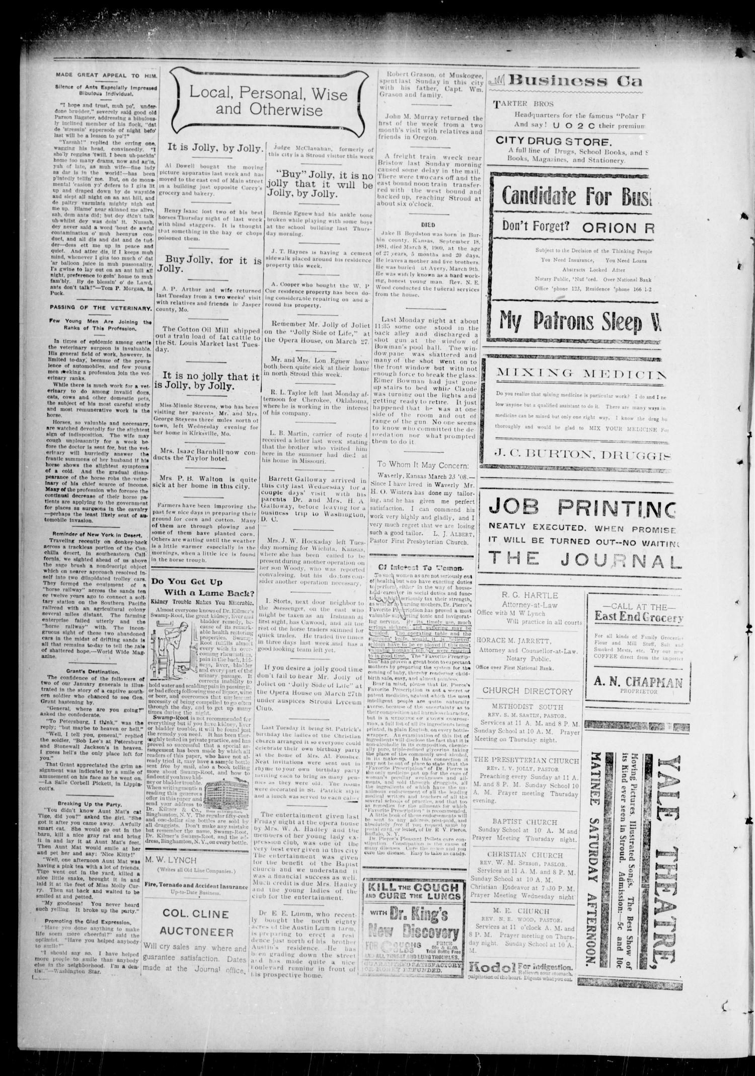 The Lincoln County Journal. The Stroud Star. (Stroud, Okla.), Vol. 4, No. 2, Ed. 1 Thursday, March 18, 1909                                                                                                      [Sequence #]: 4 of 4