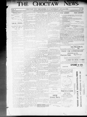 Primary view of object titled 'The Choctaw News. (Choctaw City, Okla. Terr.), Vol. 3, No. 35, Ed. 1 Saturday, August 22, 1896'.
