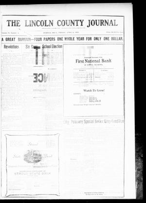 Primary view of object titled 'The Lincoln County Journal (Stroud, Okla.), Vol. 5, No. 4, Ed. 1 Friday, April 8, 1910'.