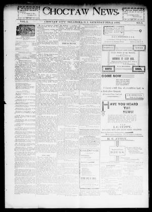 Primary view of object titled 'Choctaw News. (Choctaw City, Okla. Terr.), Vol. 2, No. 5, Ed. 1 Saturday, February 2, 1895'.