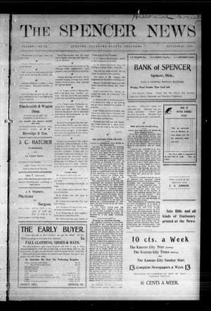 Primary view of object titled 'The Spencer News. (Spencer, Okla.), Vol. 1, No. 30, Ed. 1 Friday, October 23, 1903'.