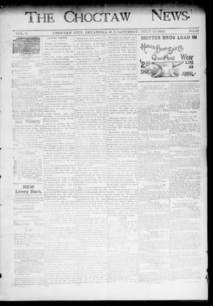 Primary view of object titled 'The Choctaw News. (Choctaw City, Okla. Terr.), Vol. 2, No. 28, Ed. 1 Saturday, July 13, 1895'.