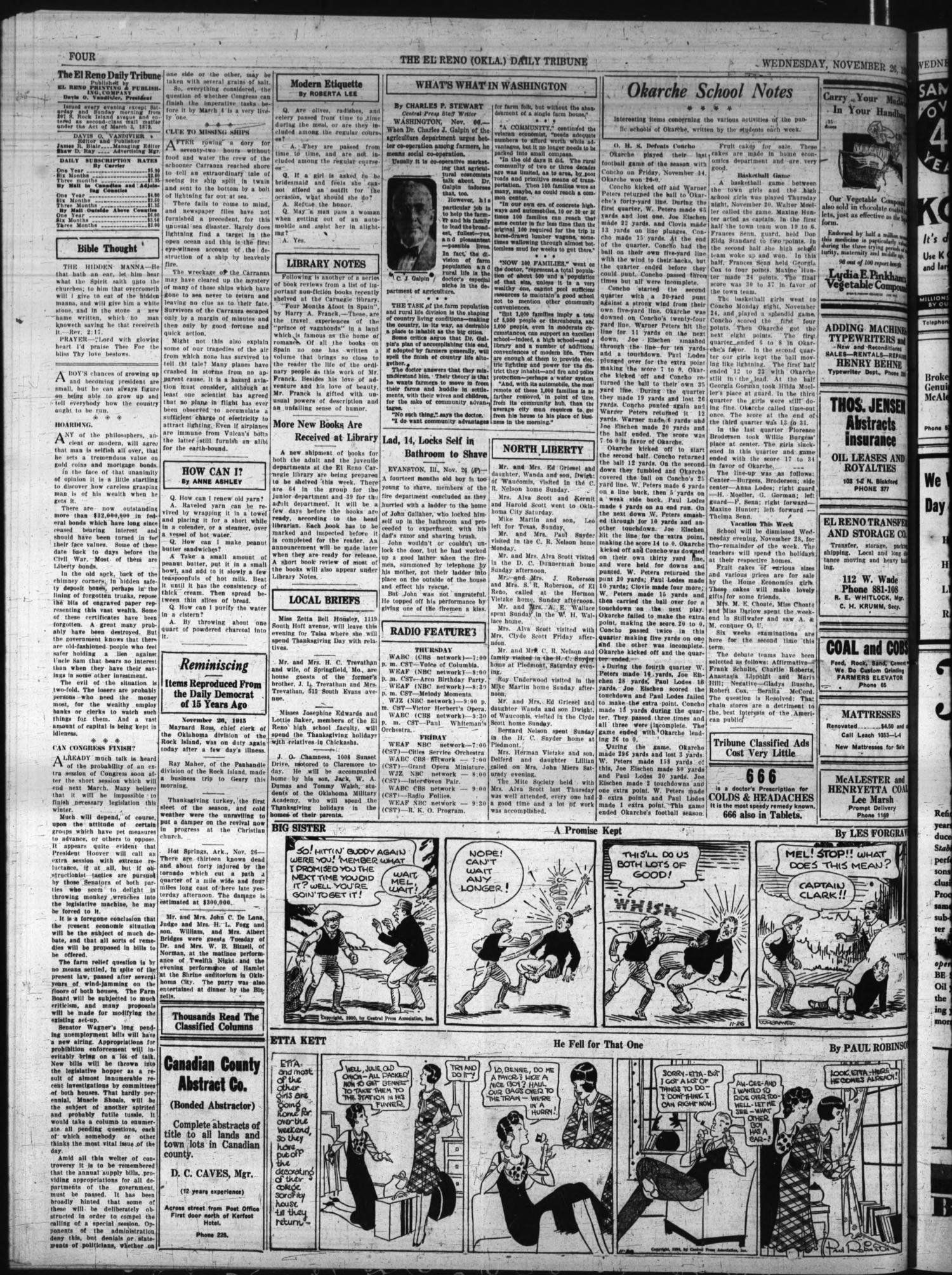The El Reno Daily Tribune (El Reno, Okla.), Vol. 39, No. 255, Ed. 1 Wednesday, November 26, 1930                                                                                                      [Sequence #]: 4 of 6