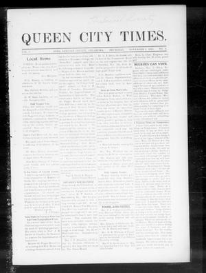 Primary view of object titled 'Queen City Times. (Agra, Okla.), Vol. 5, No. 8, Ed. 1 Thursday, November 3, 1910'.