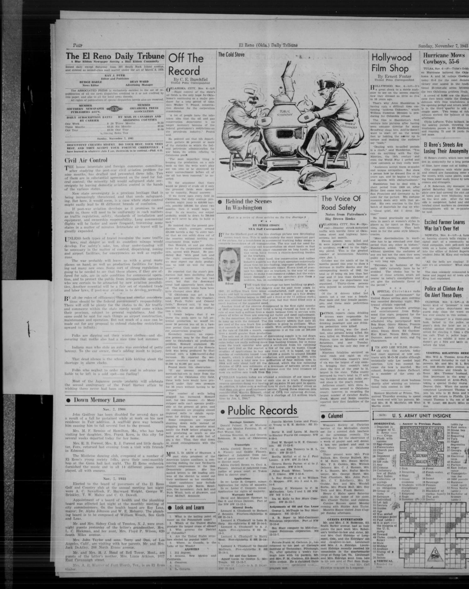 The El Reno Daily Tribune (El Reno, Okla.), Vol. 52, No. 214, Ed. 1 Sunday, November 7, 1943                                                                                                      [Sequence #]: 4 of 6
