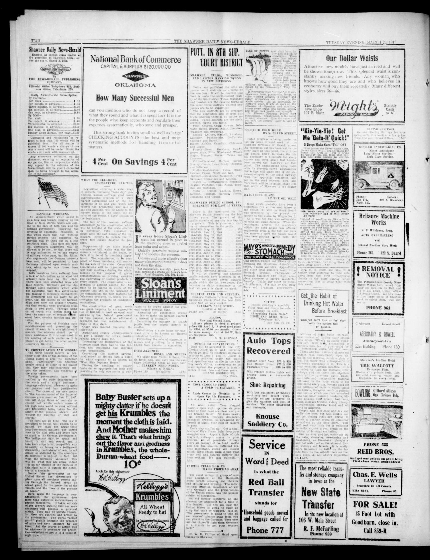 The Shawnee Daily News-Herald (Shawnee, Okla.), Vol. 23, No. 14, Ed. 1 Tuesday, March 20, 1917                                                                                                      [Sequence #]: 2 of 4