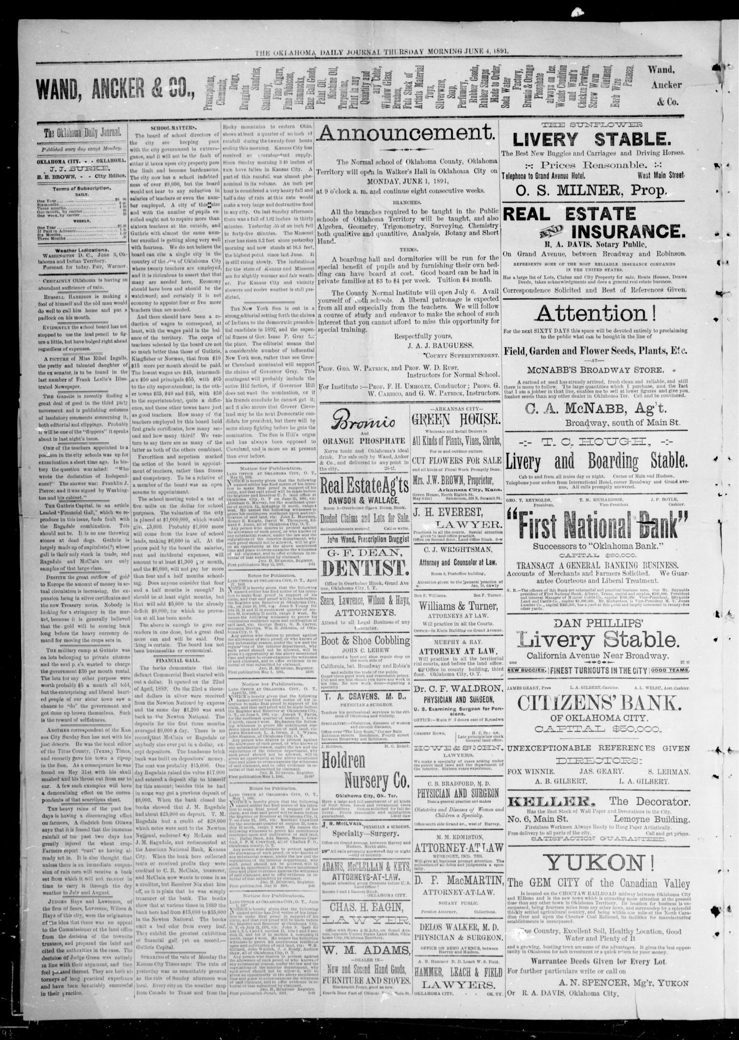 Oklahoma Daily Journal (Oklahoma City, Okla.), Vol. 2, No. 211, Ed. 1 Thursday, June 4, 1891                                                                                                      [Sequence #]: 2 of 4