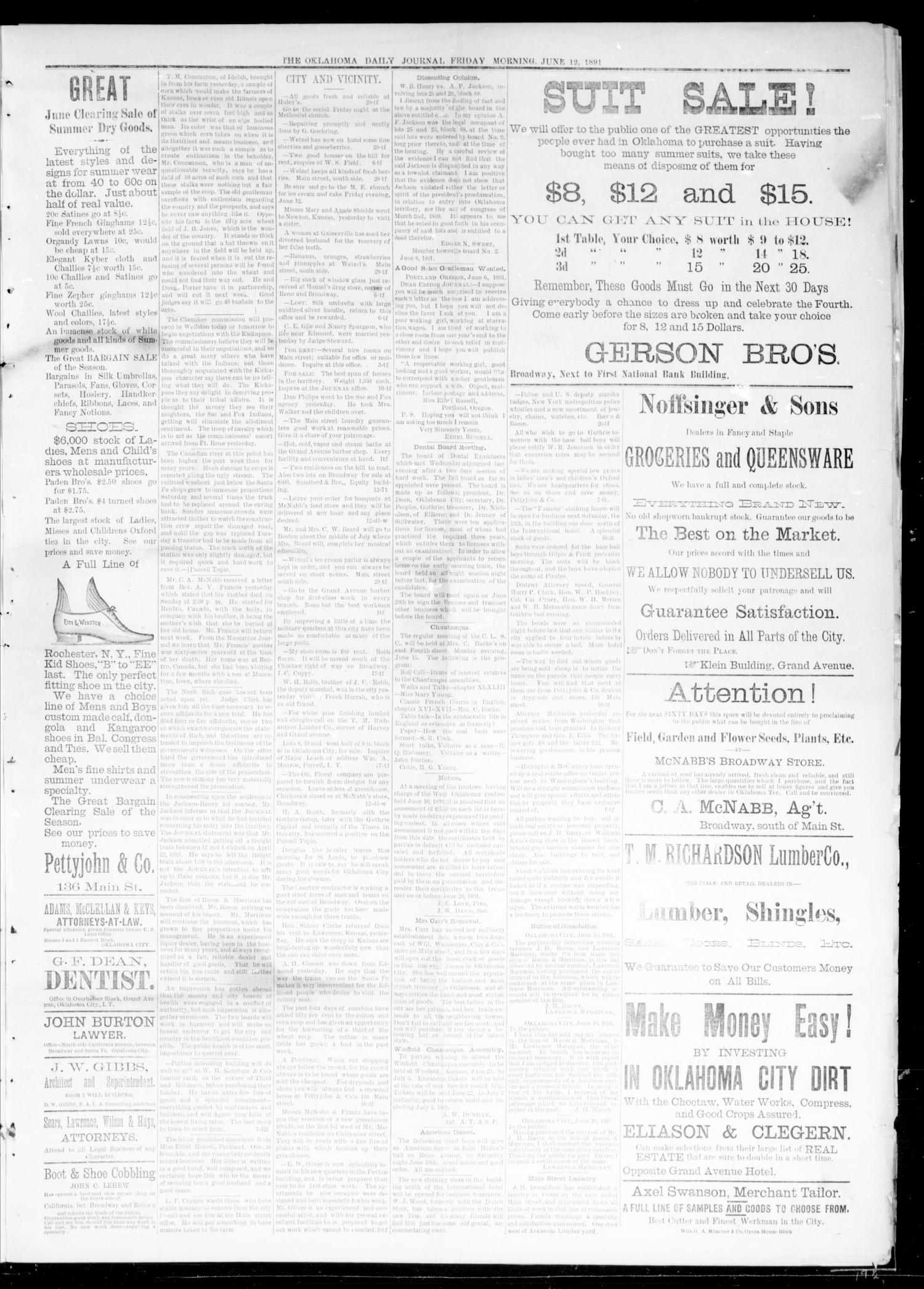 Oklahoma Daily Journal (Oklahoma City, Okla.), Vol. 2, No. 218, Ed. 1 Friday, June 12, 1891                                                                                                      [Sequence #]: 3 of 4