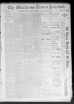 Primary view of object titled 'The Oklahoma Times Journal. (Oklahoma City, Okla. Terr.), Vol. 5, No. 51, Ed. 1 Friday, August 4, 1893'.