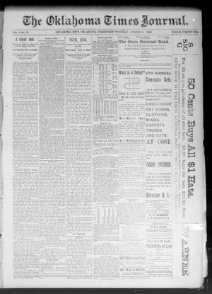 Primary view of object titled 'The Oklahoma Times Journal. (Oklahoma City, Okla. Terr.), Vol. 5, No. 54, Ed. 1 Tuesday, August 8, 1893'.