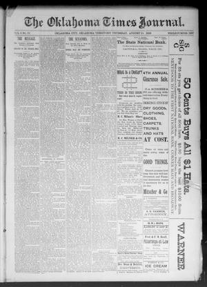 Primary view of object titled 'The Oklahoma Times Journal. (Oklahoma City, Okla. Terr.), Vol. 5, No. 56, Ed. 1 Thursday, August 10, 1893'.