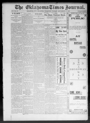 Primary view of object titled 'The Oklahoma Times Journal. (Oklahoma City, Okla. Terr.), Vol. 5, No. 84, Ed. 1 Tuesday, September 12, 1893'.