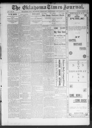 Primary view of object titled 'The Oklahoma Times Journal. (Oklahoma City, Okla. Terr.), Vol. 5, No. 85, Ed. 1 Wednesday, September 13, 1893'.