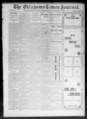 Primary view of object titled 'The Oklahoma Times Journal. (Oklahoma City, Okla. Terr.), Vol. 5, No. 87, Ed. 1 Friday, September 15, 1893'.