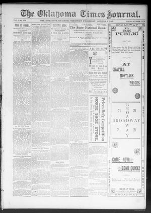 Primary view of object titled 'The Oklahoma Times Journal. (Oklahoma City, Okla. Terr.), Vol. 5, No. 103, Ed. 1 Wednesday, October 4, 1893'.