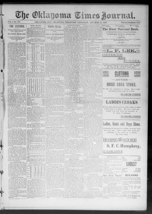 Primary view of object titled 'The Oklahoma Times Journal. (Oklahoma City, Okla. Terr.), Vol. 5, No. 110, Ed. 1 Thursday, October 12, 1893'.