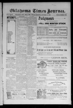Primary view of object titled 'Oklahoma Times Journal. (Oklahoma City, Okla. Terr.), Vol. 6, No. 99, Ed. 1 Friday, October 12, 1894'.