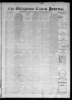 Primary view of object titled 'The Oklahoma Times Journal. (Oklahoma City, Okla. Terr.), Vol. 6, No. 200, Ed. 1 Monday, February 11, 1895'.
