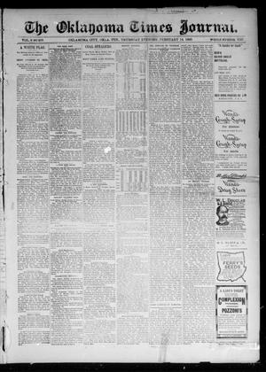 Primary view of object titled 'The Oklahoma Times Journal. (Oklahoma City, Okla. Terr.), Vol. 6, No. 203, Ed. 1 Thursday, February 14, 1895'.