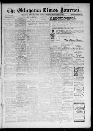 Primary view of object titled 'The Oklahoma Times Journal. (Oklahoma City, Okla. Terr.), Vol. 6, No. 207, Ed. 1 Tuesday, February 19, 1895'.