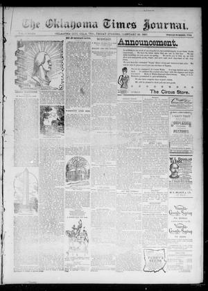 Primary view of object titled 'The Oklahoma Times Journal. (Oklahoma City, Okla. Terr.), Vol. 6, No. 210, Ed. 1 Friday, February 22, 1895'.