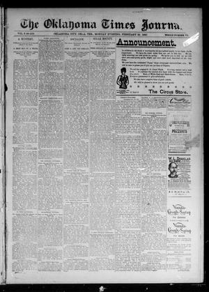 Primary view of object titled 'The Oklahoma Times Journal. (Oklahoma City, Okla. Terr.), Vol. 6, No. 212, Ed. 1 Monday, February 25, 1895'.
