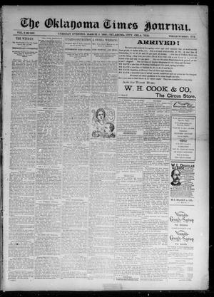 Primary view of object titled 'The Oklahoma Times Journal. (Oklahoma City, Okla. Terr.), Vol. 6, No. 219, Ed. 1 Tuesday, March 5, 1895'.