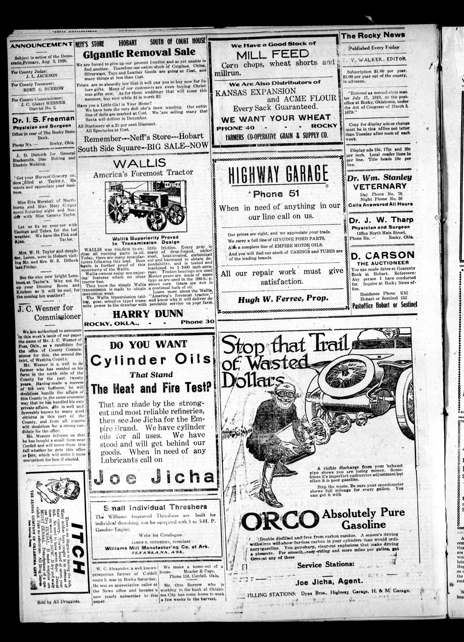The Rocky News (Rocky, Okla.), Vol. 1, No. 48, Ed. 1 Friday, June 11, 1920                                                                                                      [Sequence #]: 4 of 4