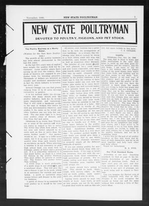 Primary view of object titled 'New State Poultryman (Oklahoma City, Okla.), Vol. [1], No. [4], Ed. 1 Thursday, November 1, 1906'.