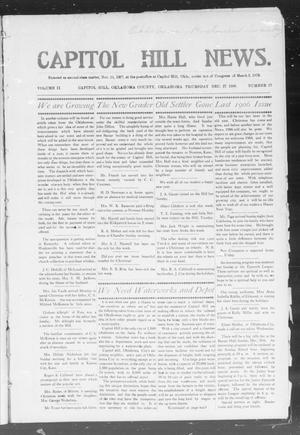Primary view of object titled 'Capitol Hill News. (Capitol Hill, Okla.), Vol. 2, No. 17, Ed. 1 Thursday, December 27, 1906'.