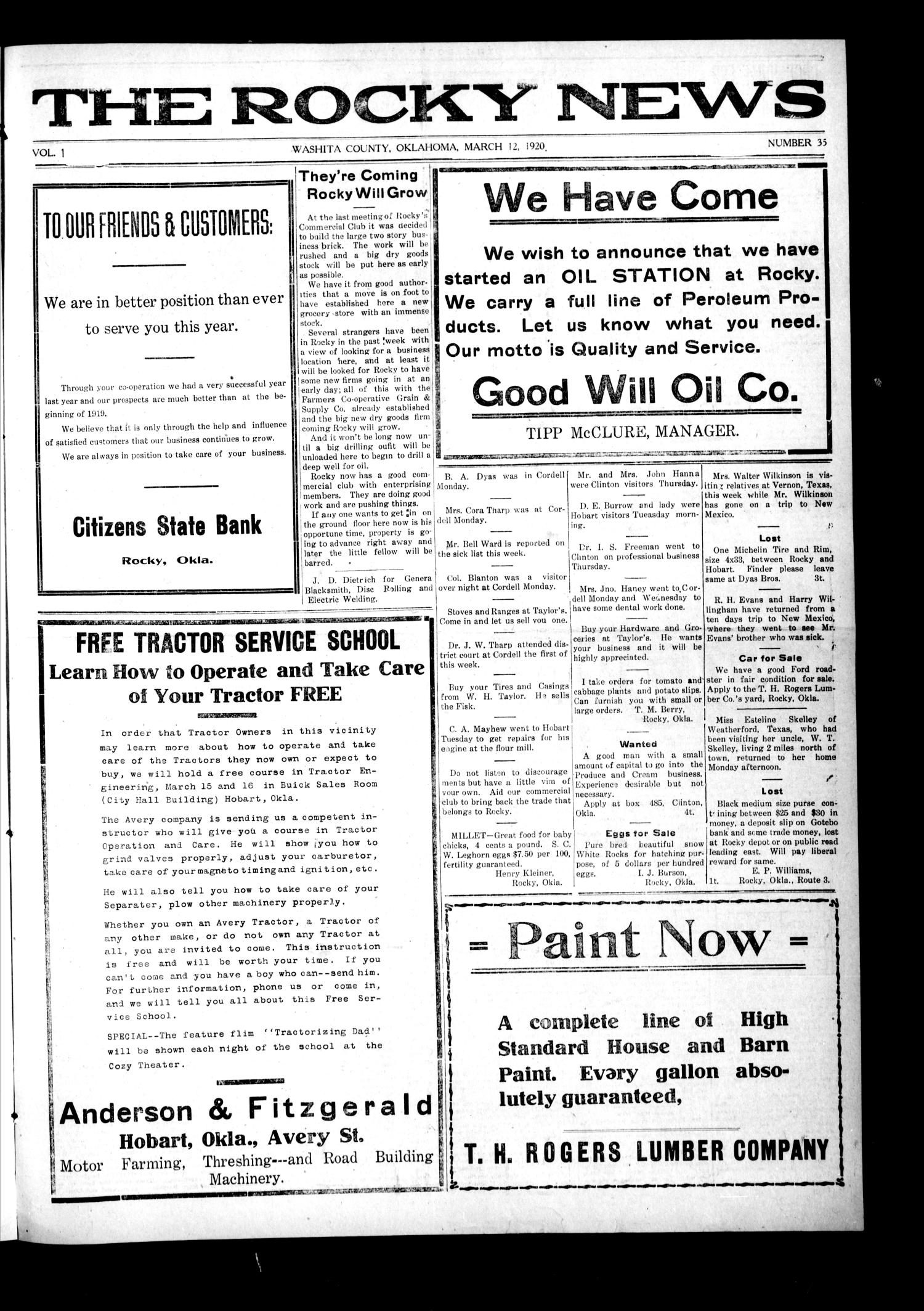 The Rocky News (Rocky, Okla.), Vol. 1, No. 35, Ed. 1 Friday, March 12, 1920                                                                                                      [Sequence #]: 1 of 4