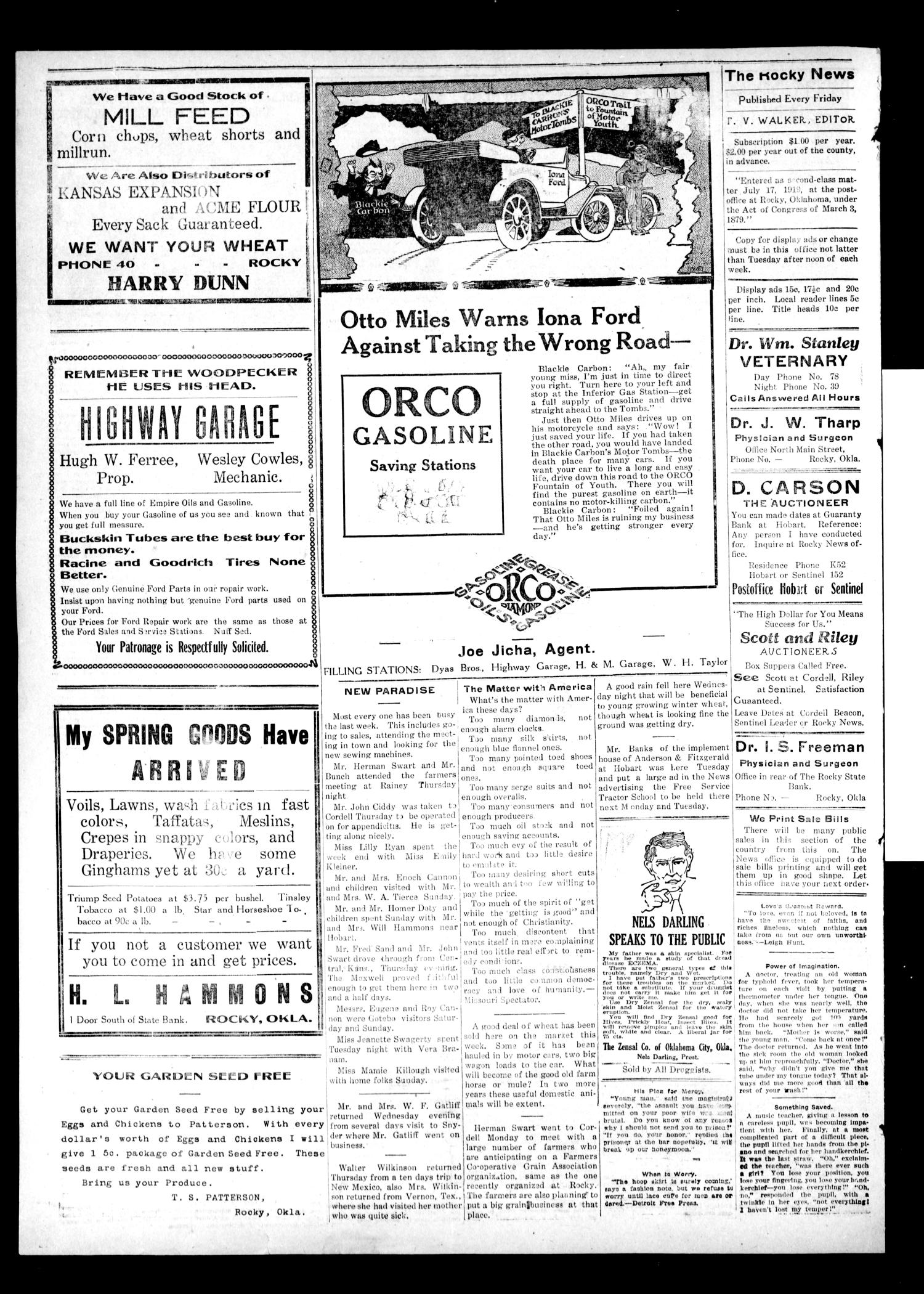 The Rocky News (Rocky, Okla.), Vol. 1, No. 35, Ed. 1 Friday, March 12, 1920                                                                                                      [Sequence #]: 4 of 4