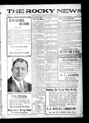 Primary view of The Rocky News (Rocky, Okla.), Vol. 1, No. 20, Ed. 1 Friday, November 28, 1919