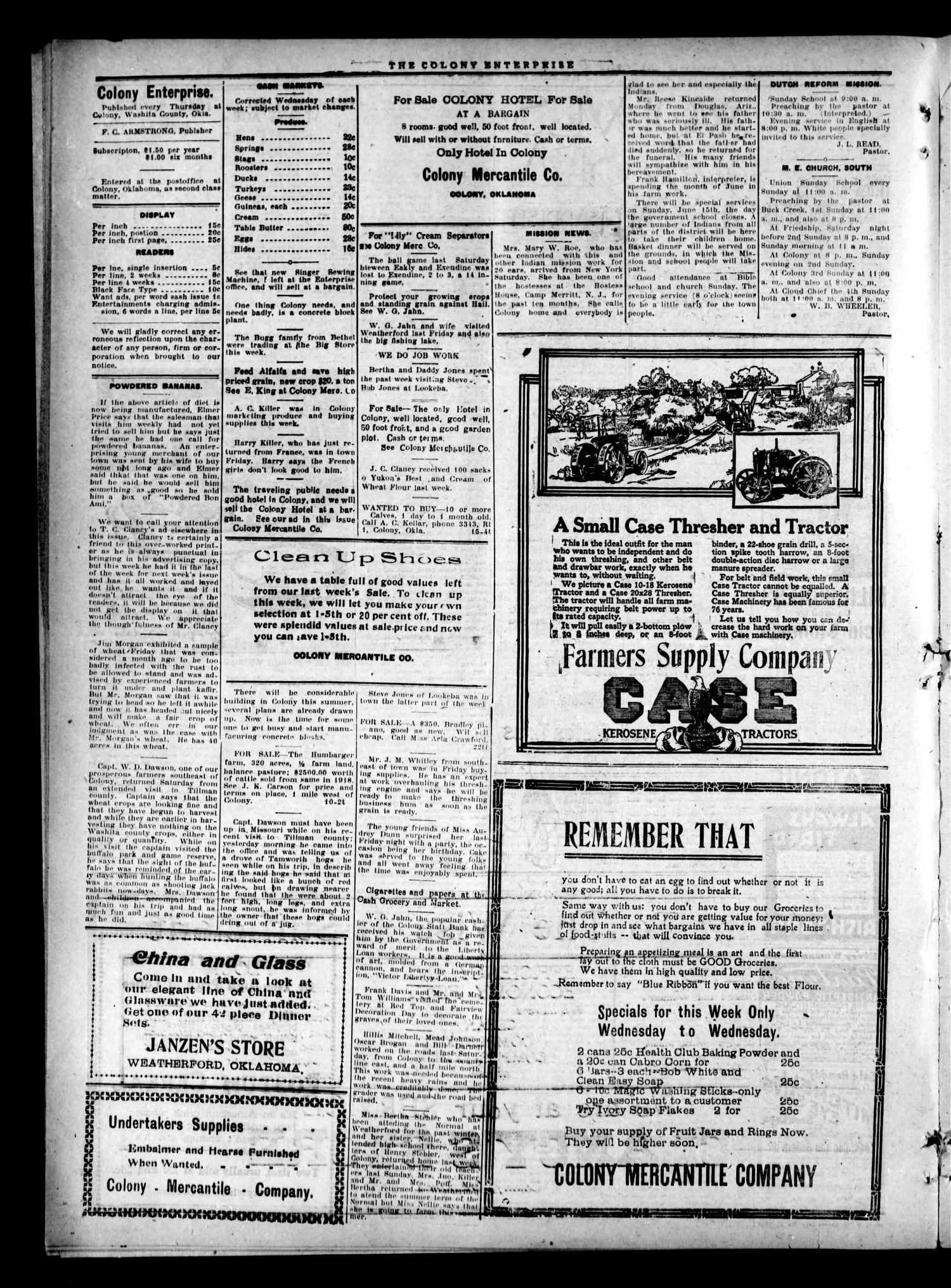 The Colony Enterprise (Colony, Okla.), Vol. 1, No. 10, Ed. 1 Thursday, June 5, 1919                                                                                                      [Sequence #]: 4 of 8