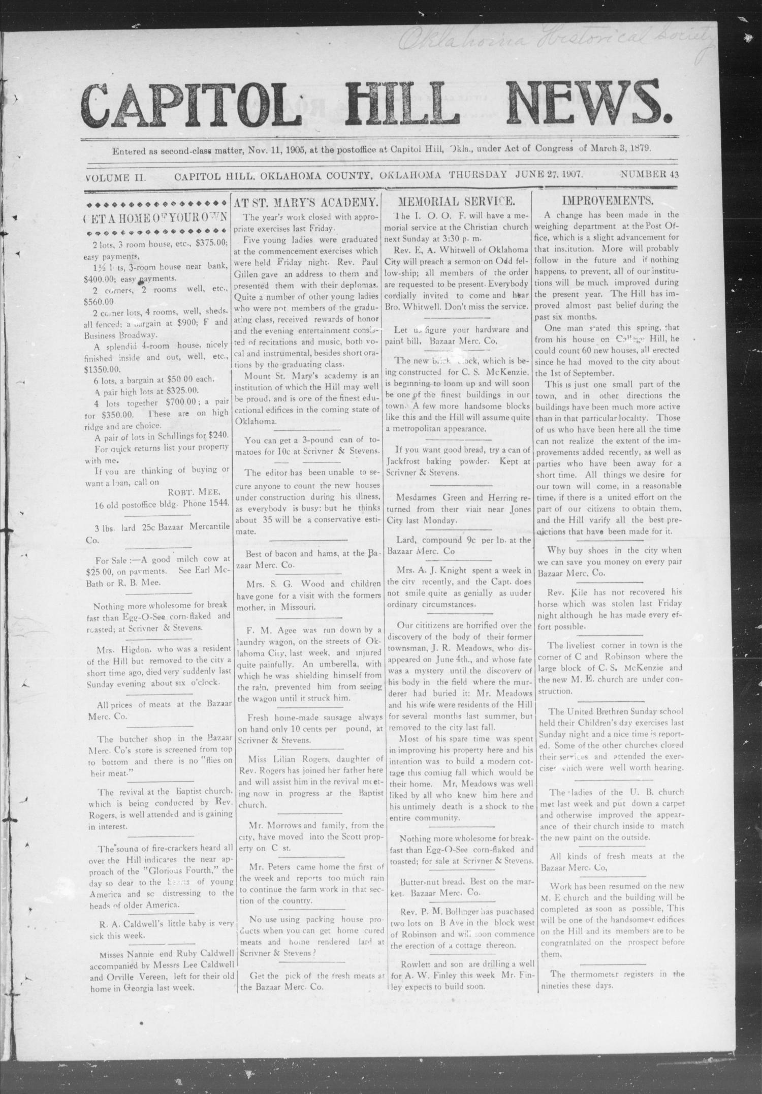 Capitol Hill News. (Capitol Hill, Okla.), Vol. 2, No. 43, Ed. 1 Thursday, June 27, 1907                                                                                                      [Sequence #]: 1 of 8