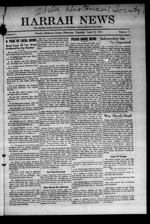 Primary view of object titled 'Harrah News (Harrah, Okla.), Vol. 5, No. 13, Ed. 1 Thursday, April 23, 1914'.
