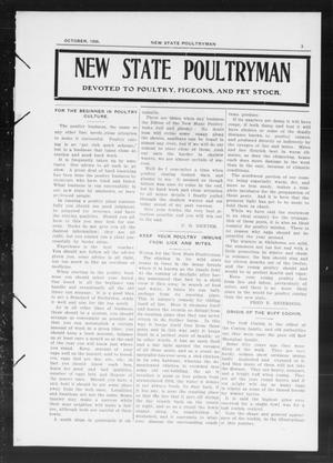Primary view of object titled 'New State Poultryman (Oklahoma City, Okla.), Vol. [1], No. [3], Ed. 1 Monday, October 1, 1906'.