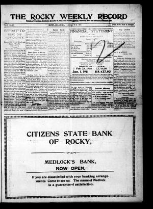Primary view of object titled 'The Rocky Weekly Record (Rocky, Okla.), Vol. 3, No. 10, Ed. 1 Thursday, January 12, 1911'.
