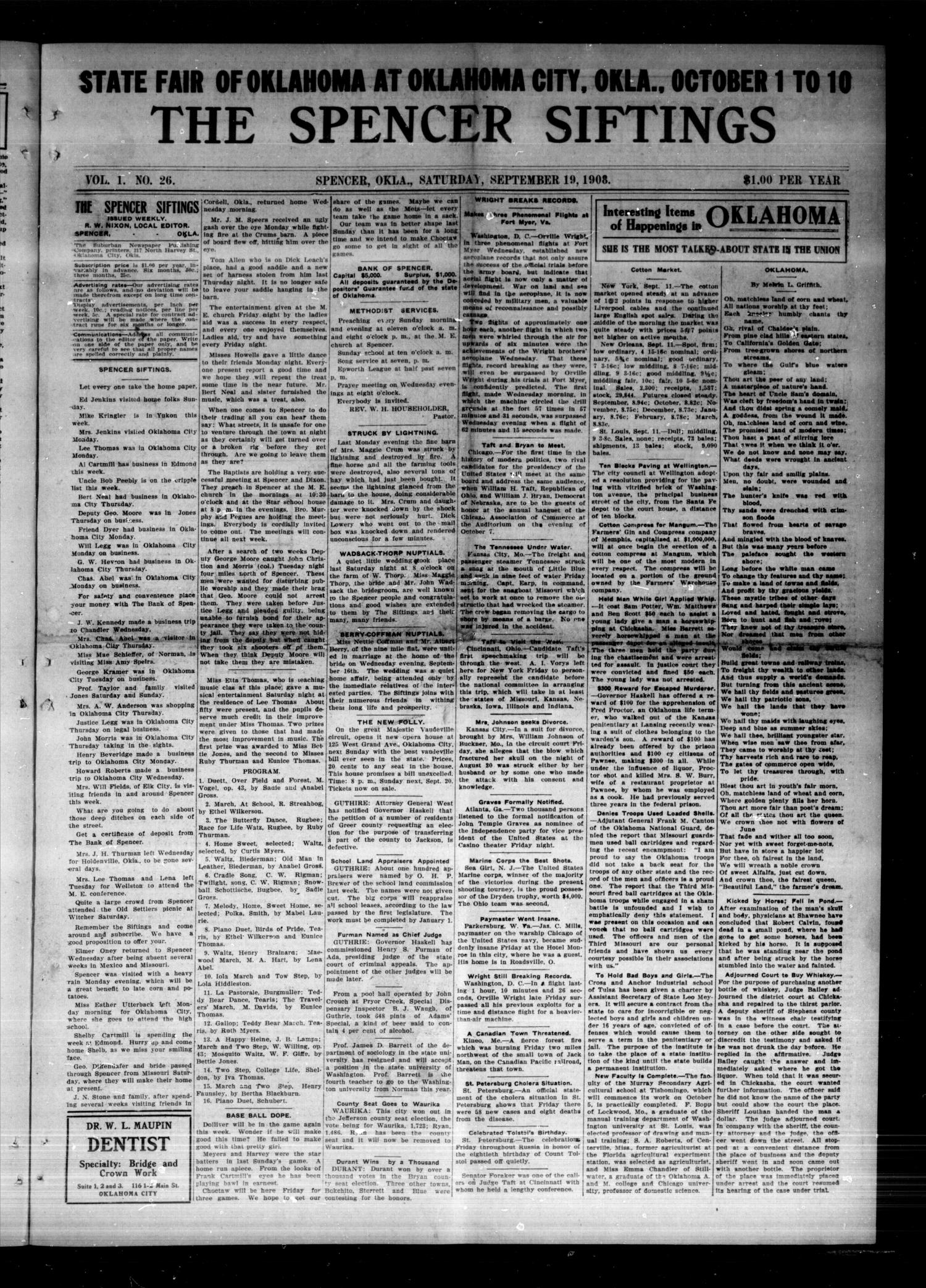 The Spencer Siftings (Spencer, Okla.), Vol. 1, No. 26, Ed. 1 Saturday, September 19, 1908                                                                                                      [Sequence #]: 1 of 8