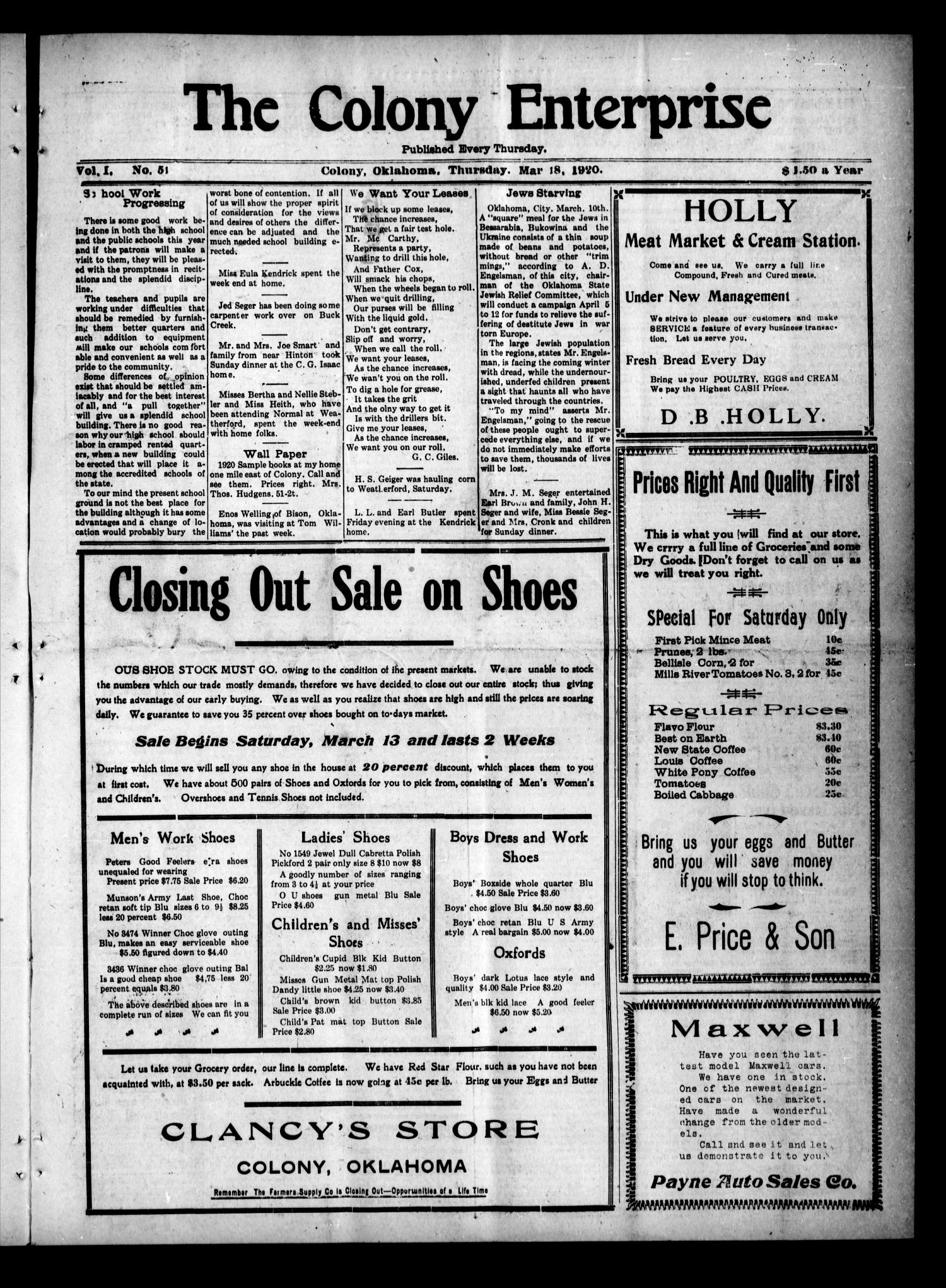 The Colony Enterprise (Colony, Okla.), Vol. 1, No. 51, Ed. 1 Thursday, March 18, 1920                                                                                                      [Sequence #]: 1 of 8