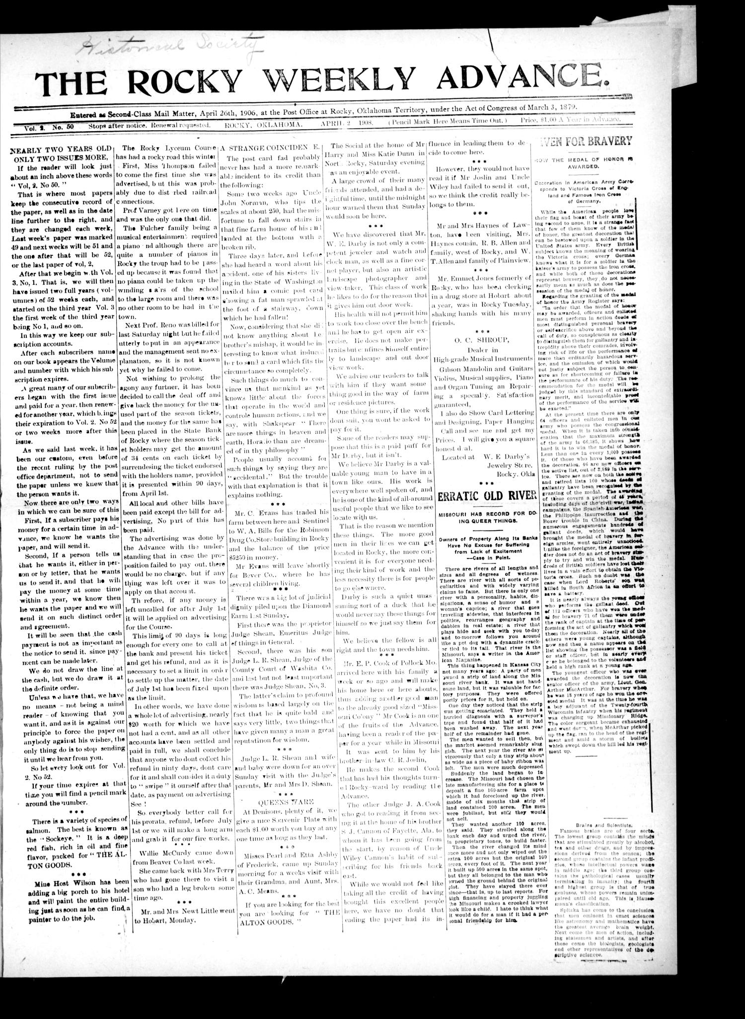The Rocky Weekly Advance. (Rocky, Okla.), Vol. 2, No. 50, Ed. 1 Thursday, April 2, 1908                                                                                                      [Sequence #]: 1 of 4