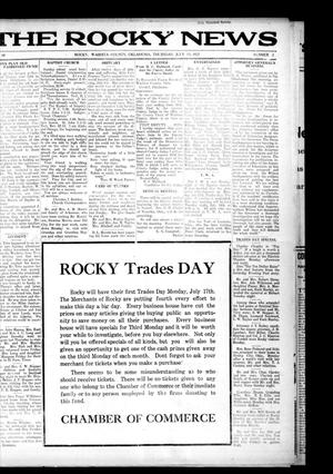 Primary view of object titled 'The Rocky News (Rocky, Okla.), Vol. 18, No. 2, Ed. 1 Thursday, July 13, 1922'.