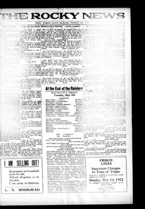 Primary view of object titled 'The Rocky News (Rocky, Okla.), Vol. 17, No. 43, Ed. 1 Thursday, May 4, 1922'.