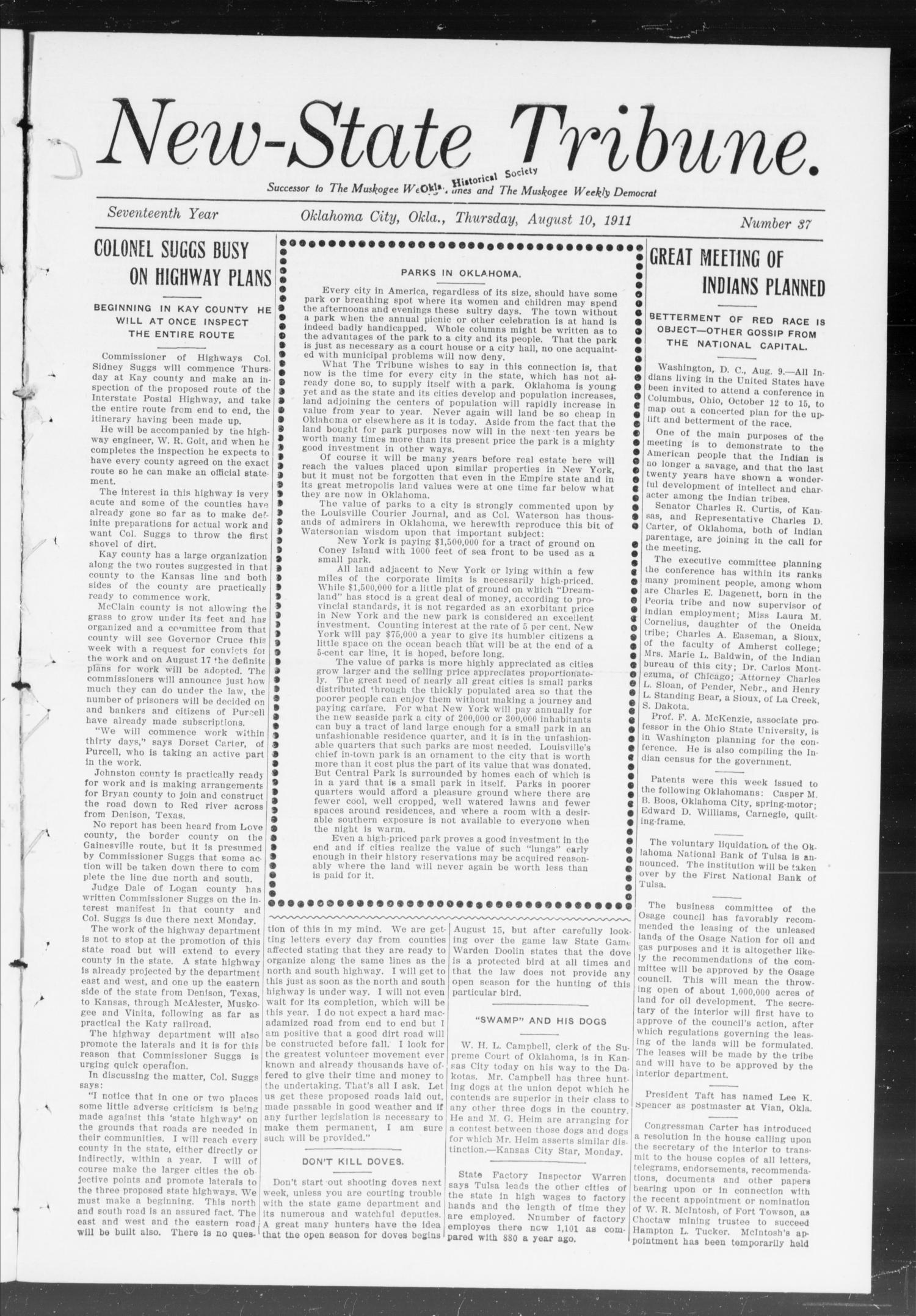 New-State Tribune. (Oklahoma City, Okla.), Vol. 17, No. 37, Ed. 1 Thursday, August 10, 1911                                                                                                      [Sequence #]: 1 of 16