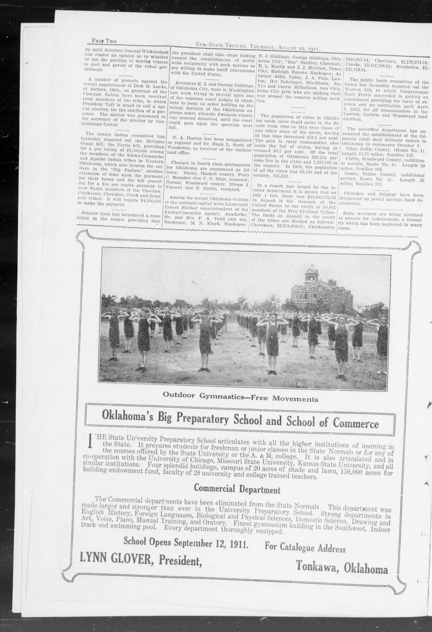 New-State Tribune. (Oklahoma City, Okla.), Vol. 17, No. 37, Ed. 1 Thursday, August 10, 1911                                                                                                      [Sequence #]: 2 of 16