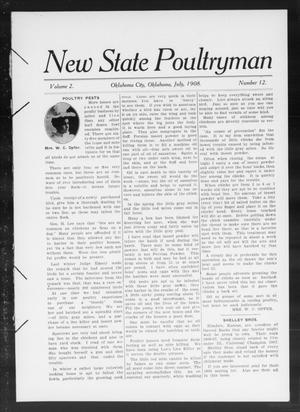 Primary view of object titled 'New State Poultryman (Oklahoma City, Okla.), Vol. 2, No. 12, Ed. 1 Wednesday, July 1, 1908'.