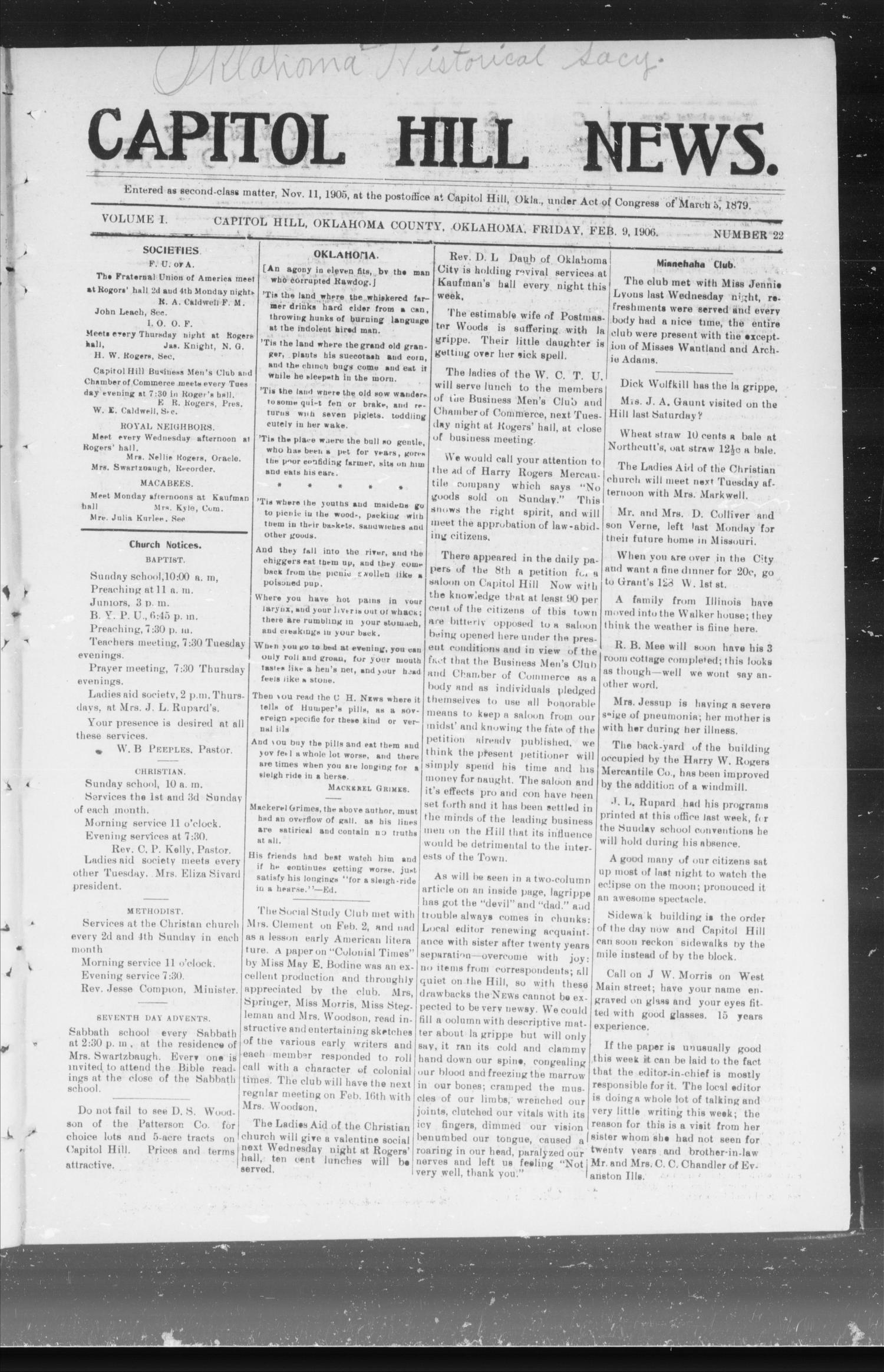Capitol Hill News. (Capitol Hill, Okla.), Vol. 1, No. 22, Ed. 1 Friday, February 9, 1906                                                                                                      [Sequence #]: 1 of 8