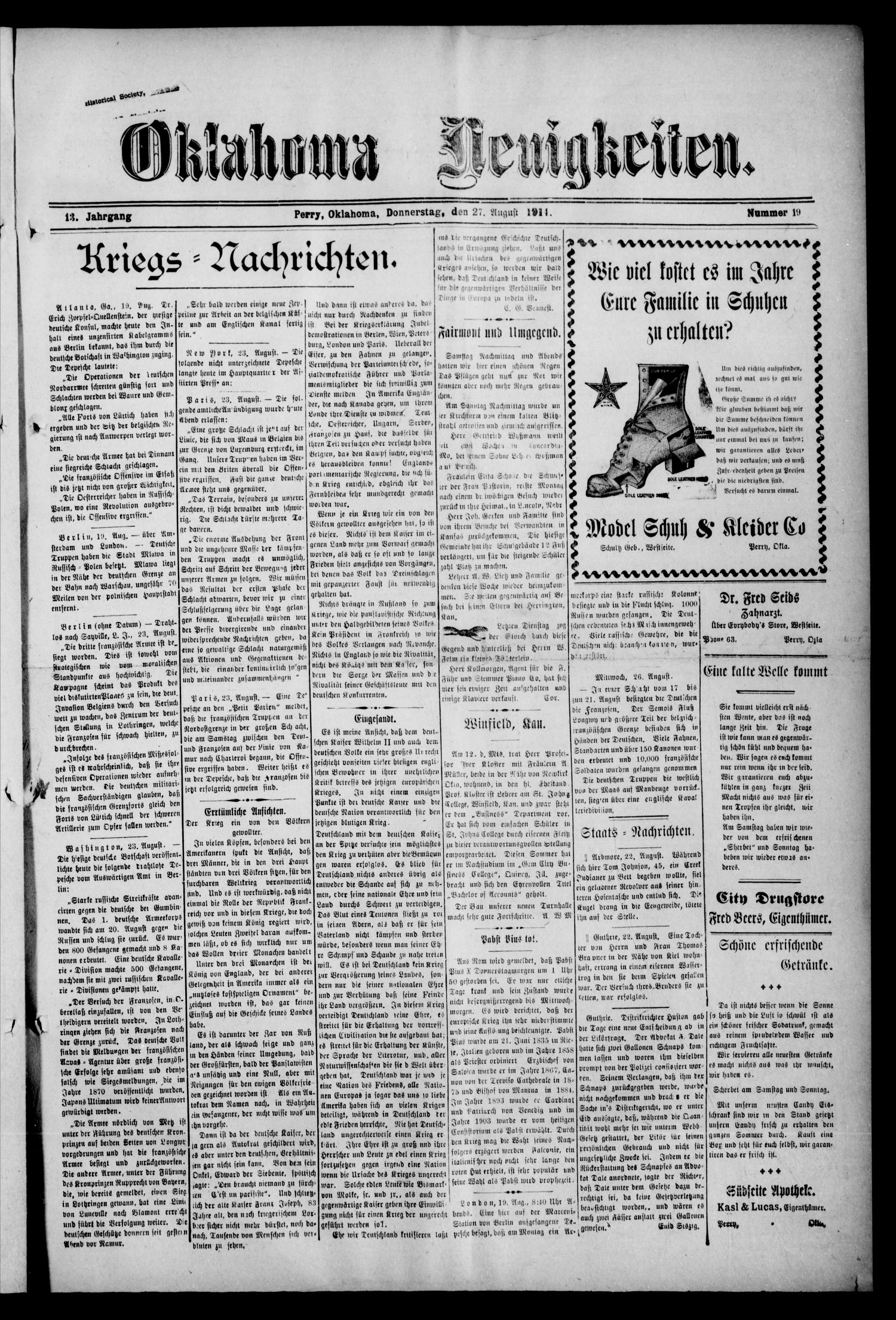 Oklahoma Neuigkeiten. (Perry, Okla.), Vol. 13, No. 19, Ed. 1 Thursday, August 27, 1914                                                                                                      [Sequence #]: 1 of 4