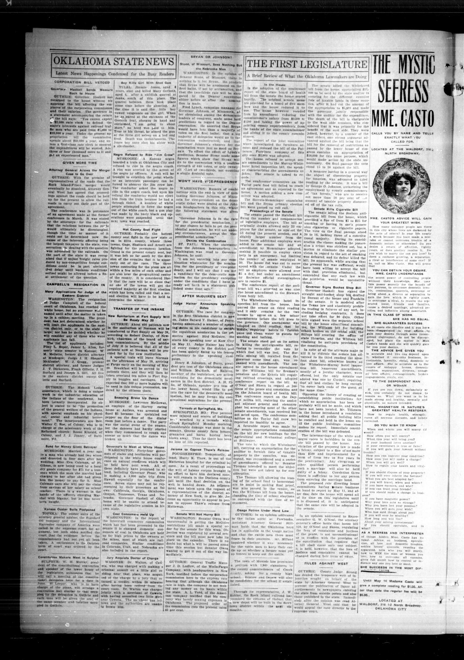The Spencer Siftings (Spencer, Okla.), Vol. 1, No. 7, Ed. 1 Friday, May 8, 1908                                                                                                      [Sequence #]: 4 of 8